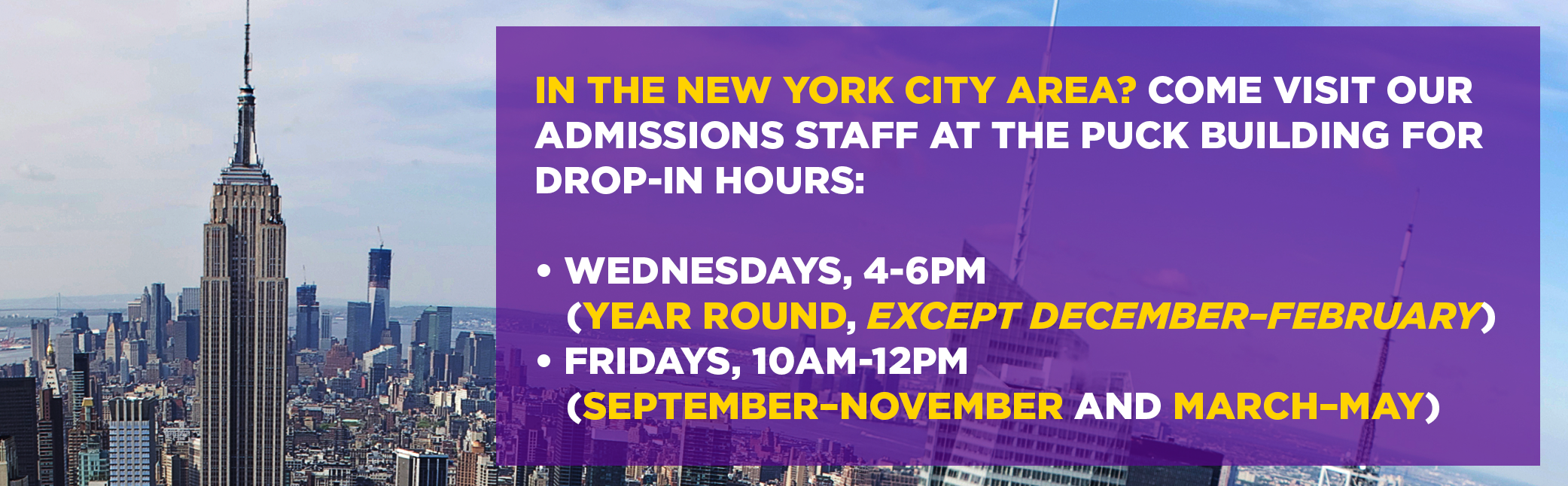 Visit us nyu wagner in the new york city area come visit our admissions staff at the puck building xflitez Choice Image