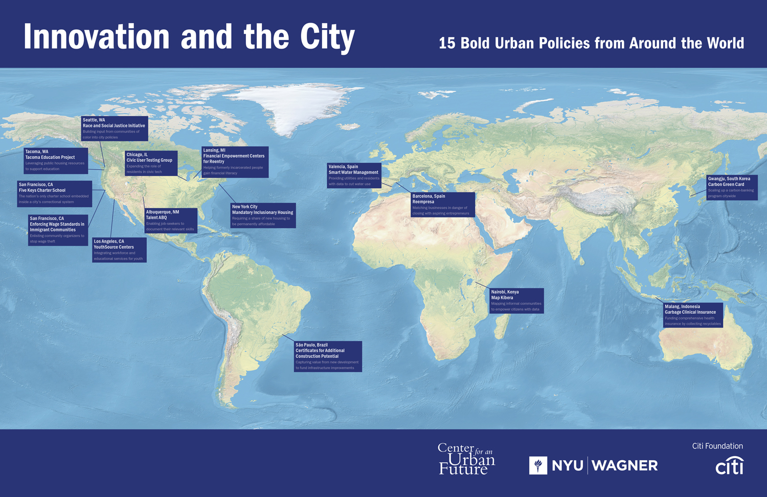 Map of 15 most innovation municipal policy initiatives of the past decade