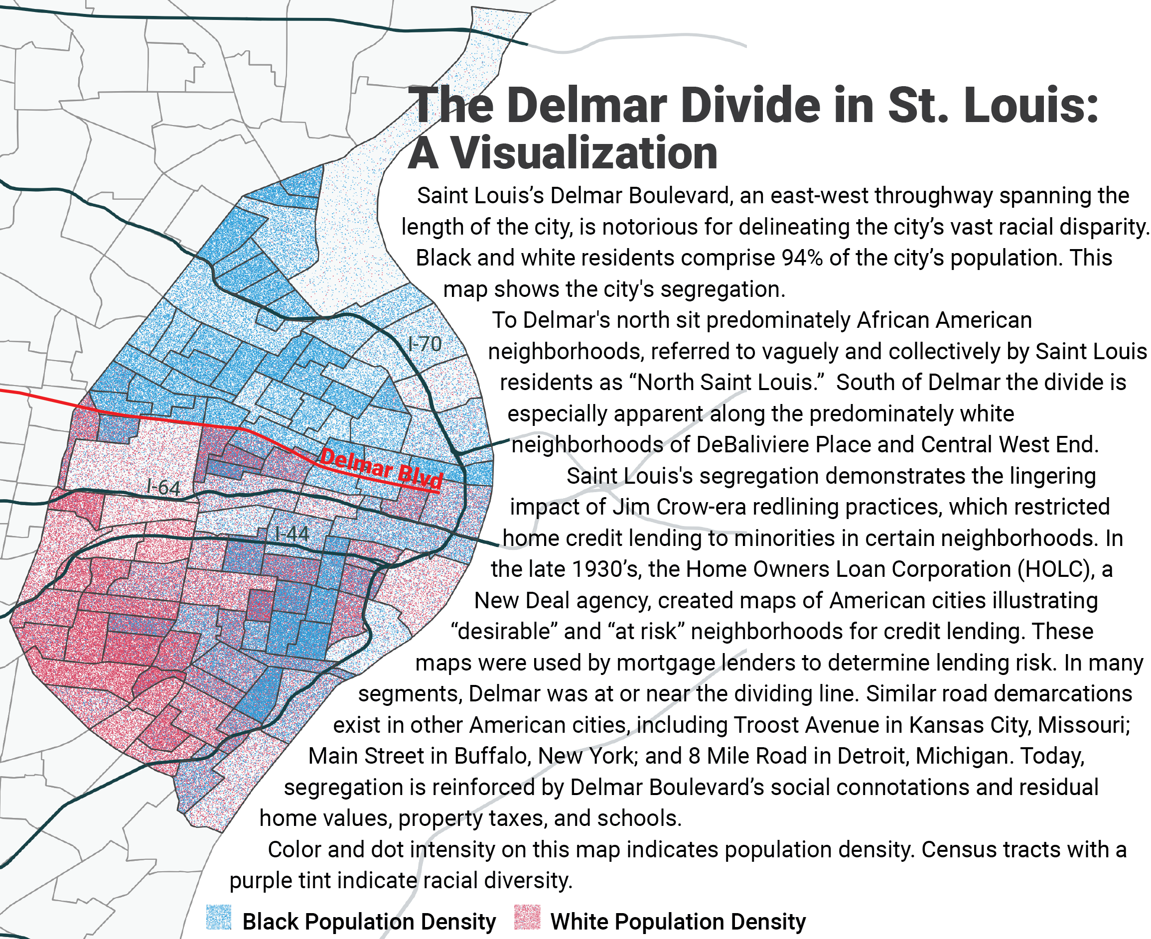 Dot map of Saint Louis displaying race and density