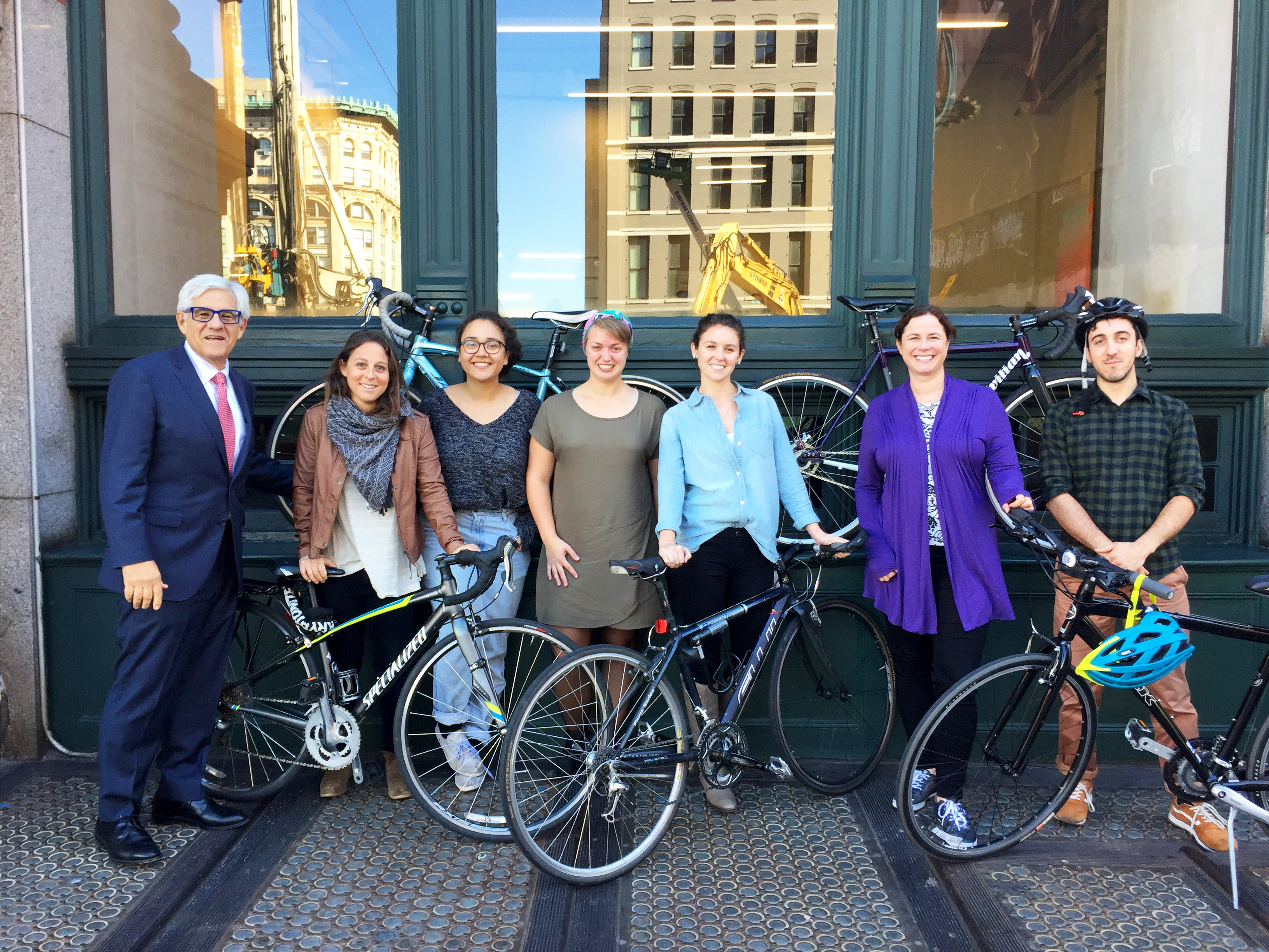 The Cyclists (from left to right): Mitchell Moss, Director, NYU Rudin Center; Joanna Simon, Graduate Researcher; Olivia Craighead, Program Assistant; Ashley Smith, Graduate Researcher; Jenny O'Connell, Graduate Researcher; Sarah Kaufman, Assistant Director; Ari Kaputkin, Graduate Researcher.