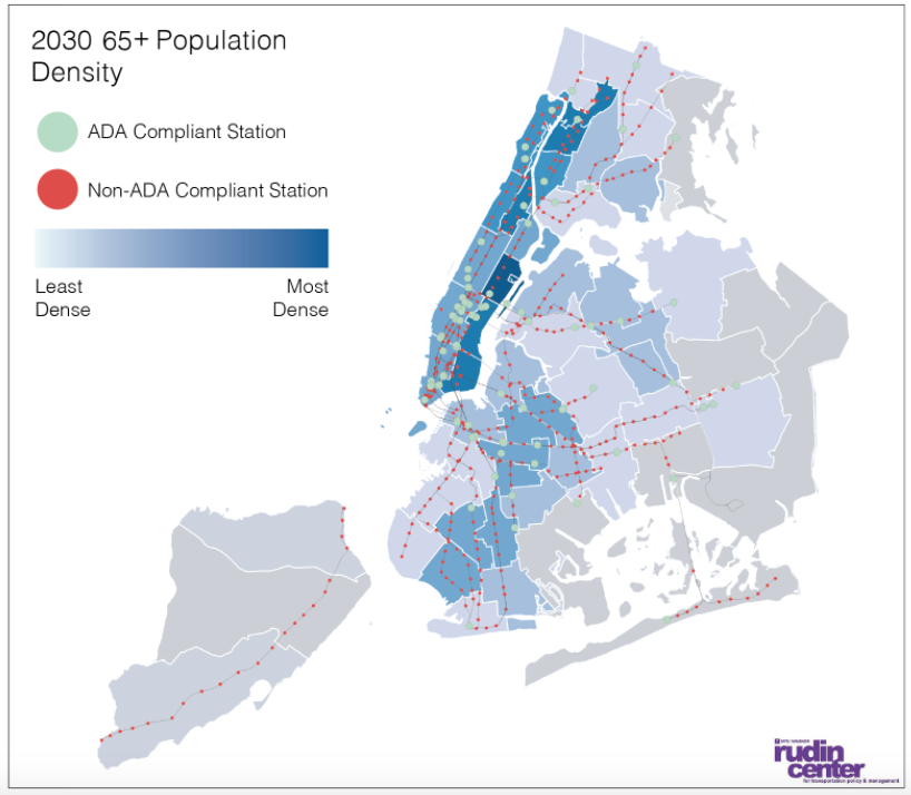 Population density of 65+ New Yorkers in 2030