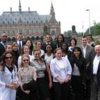 Members of the Amsterdam Conflict and Development class in front of Peace Palace in the Hague