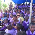 Wagner student Priyanka Gupta with students from a local school in the Greater Accra region