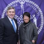 British Prime Minister Gordon Brown and Ellen Schall, Dean of NYU Wagner