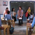NYU GAIN capstone team.  School visit.  Chittaurgarh, Rajasthan, India.  Rubina Khan, Debbie Koh, Kr