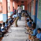 NYU GAIN capstone team. Site visit to school during lunch.  Chittaurgarh, Rajasthan, India.