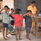 NYU GAIN capstone team.  School visit.  Visakhaptnam, Andhra Pradesh, India.