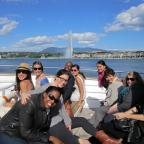 Wagner's International Health Policy class takes a boat ride on Lake Leman Photo by Vivian Yela