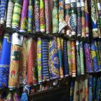 Colorful Textiles in Kaneshi Market, Accra. Photo by Angela Cheng