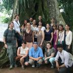 Class photo at the Strangler Ficus Tree at Aburi Botanical Garden. Photo by Sandra Vu