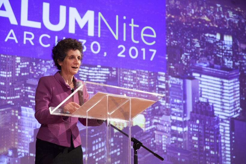 Dean Sherry Glied speaking at AlumNite 2017