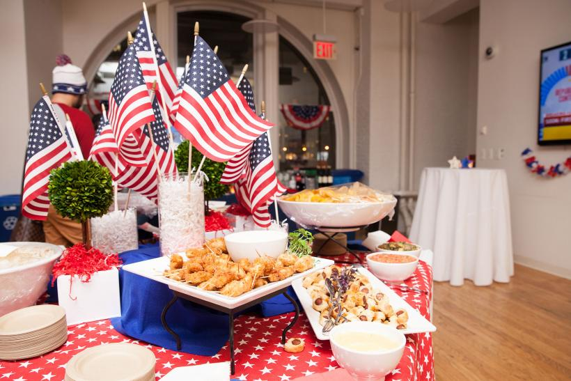 Food table with patriotic decoration
