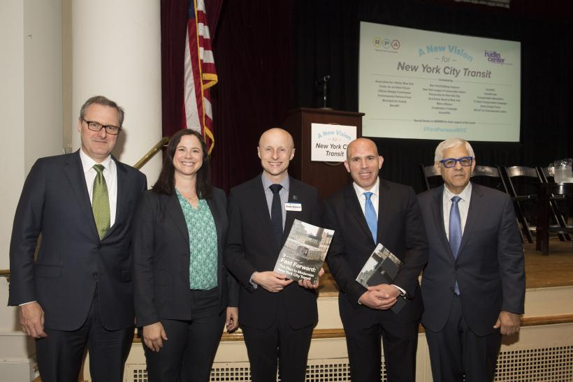 Tom Wright, RPA President; Sarah Kaufman, NYU Rudin Center Assistant Director; Andy Byford, NYCT President; Scott Rechler, RPA Board Chair; and Mitchell Moss, NYU Rudin Center Director