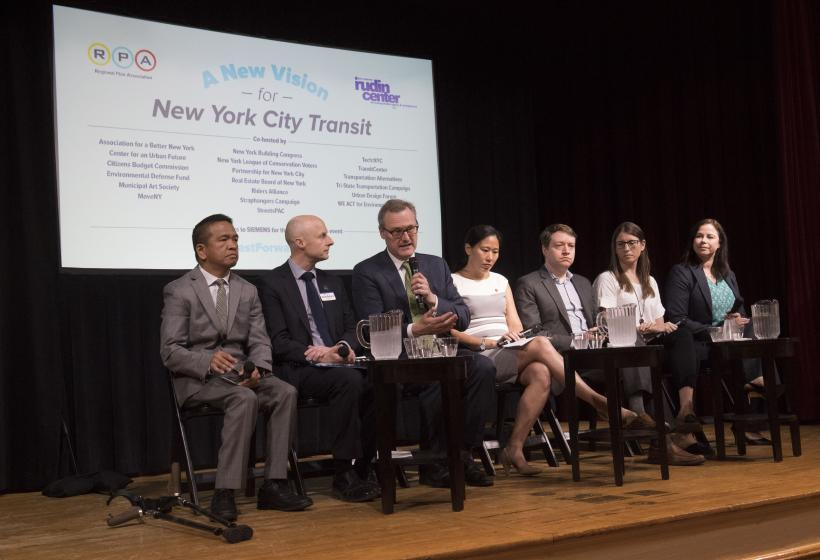 The Fast Forward NYC discussion panel: Chris Pangilinan, Transit Center; Andy Byford, NYCT; Tom Wright, RPA; Angela Sung Pinsky, ABNY; John Raskin, Riders Alliance; Julie Samuels, Tech:NYC; Sarah Kaufman, NYU Rudin Center