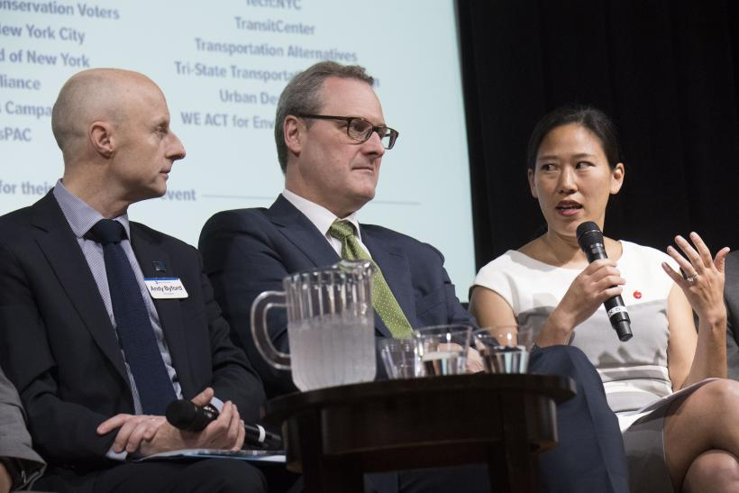 Andy Byford, NYCT President; Tom Wright, RPA President; Angela Sung Pinsky, ABNY Executive Director, on the Fast Forward NYC discussion panel