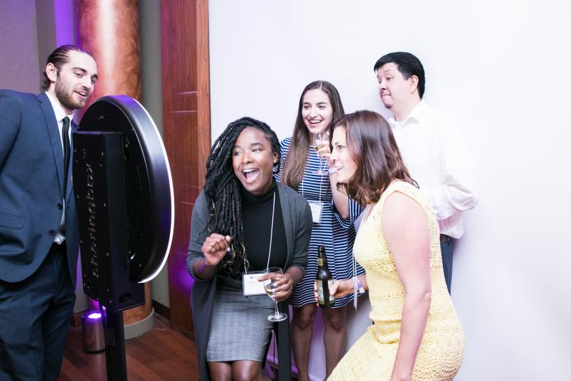 Guests taking a photo booth photo
