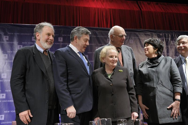 From left: John Sexton, Gordon Brown, Madeleine Albright, Paul Volcker, Ellen Schall and Rick Traino