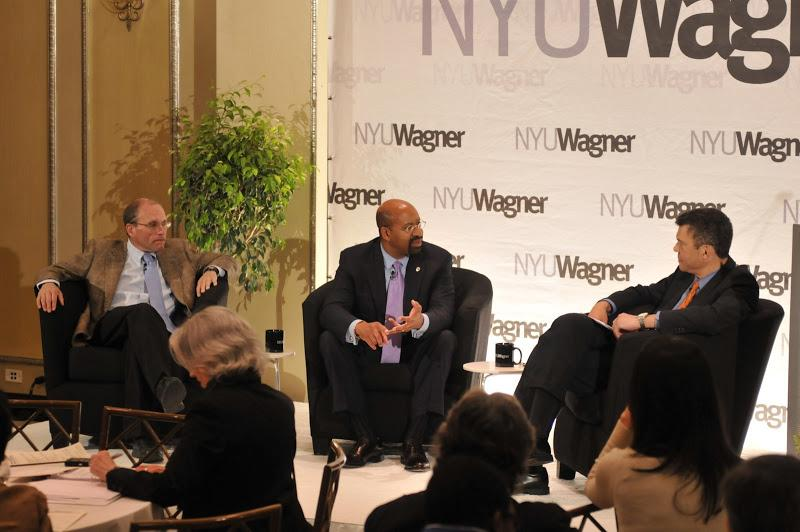 NY Times political reporter Adam Nagourney, Philadelphia Mayor Michael A. Nutter and NBC's Mark Whit