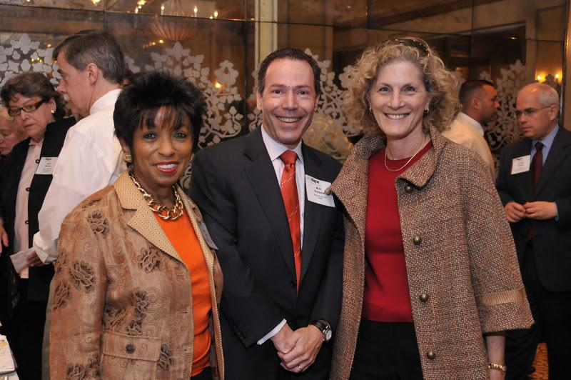 Wagner Dean's Council member Nancy Lane, NYU Wagner Alumnus Marc Sussman, and guest Cheryl Lewy