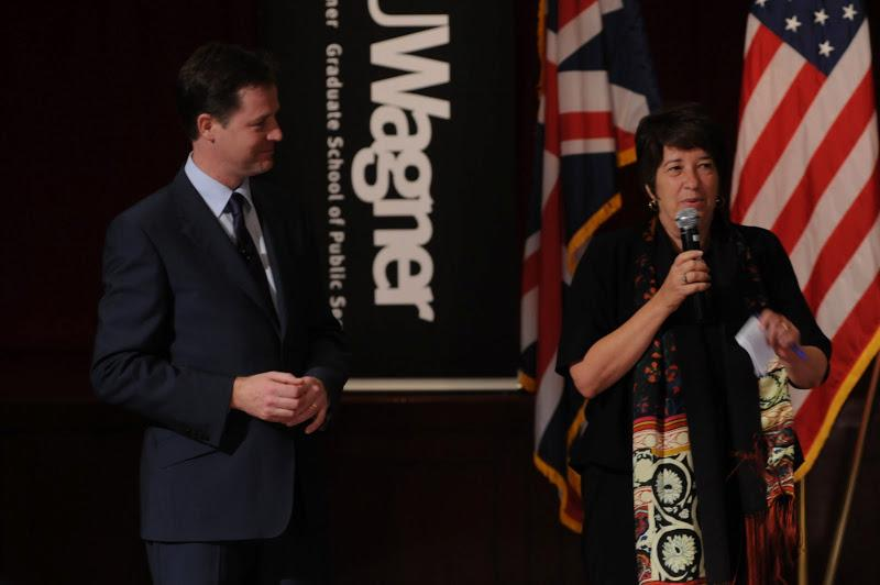 Ellen Schall, dean of NYU Wagner, welcomed Nick Clegg, Deputy Prime Minister in the UK, at a lively