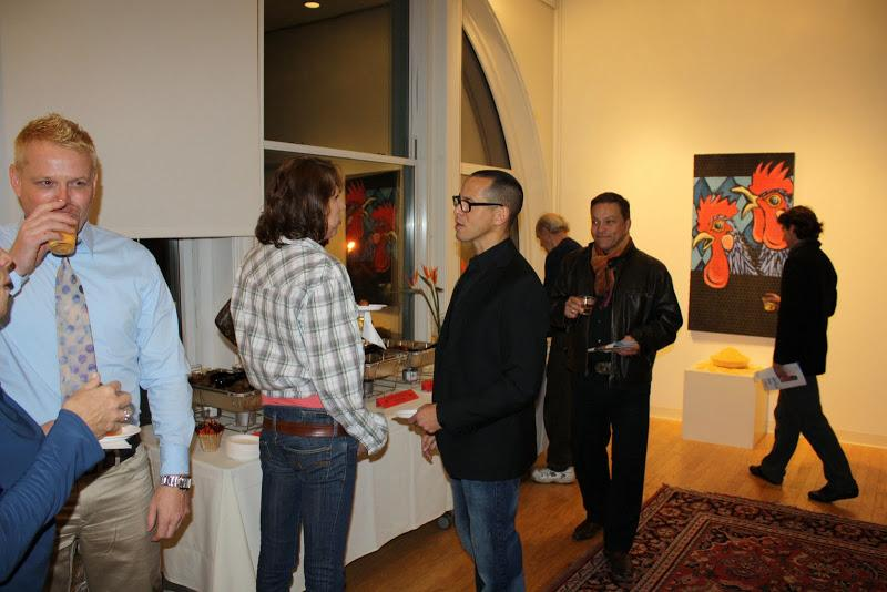 Guests at the opening reception of  FolkloRican: The Art of Pepe Villegas at NYU Wagner