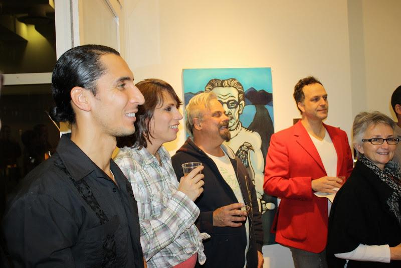 NYU Wagner Dean Ellen Schall and Pepe Villegas with guests at the opening reception of  FolkloRican: