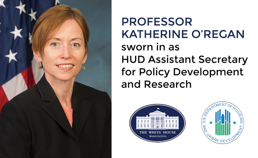 Professor Katherine O'Regan was sworn in April 29, 2014 as the U.S. Department of Housing and Urban