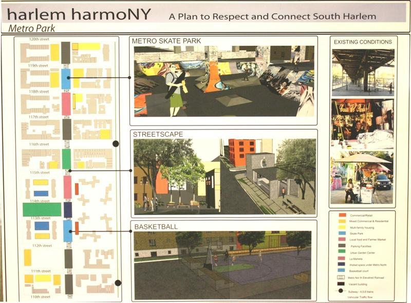 Harlem HarmoNY: A Plan to Respect and Connect South Harlem, Metro Park.  Project by Peter Donohue, L