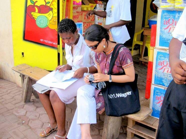 Accra, Ghana: Priyanka Gupta working with Comfort from Y-SEF, a microfinance organization based in A