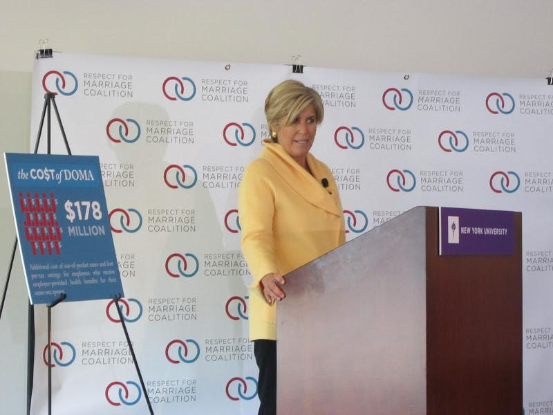 Suze Orman moderates a panel discussion on the economic impact caused by the Defense of Marriage Act