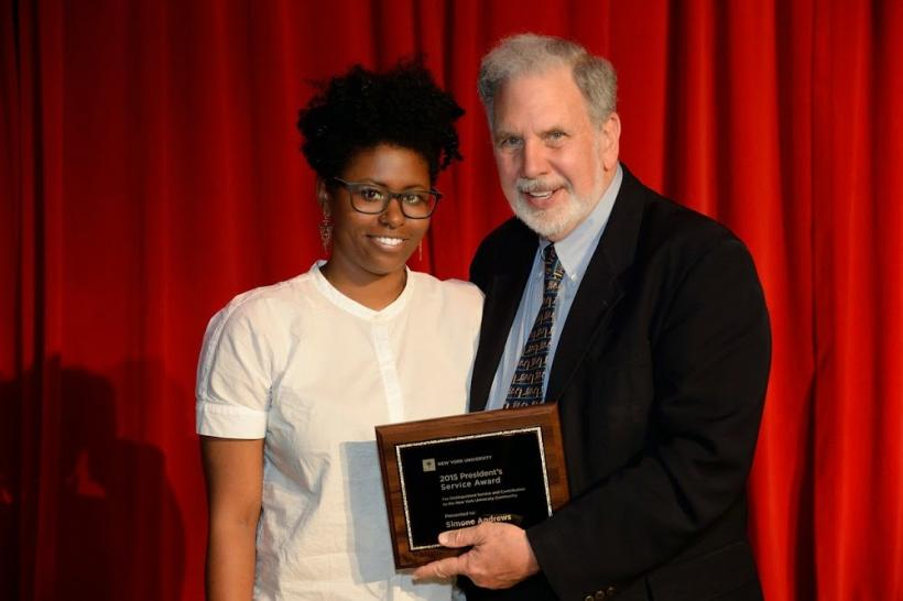 Simone Andrews with President John Sexton