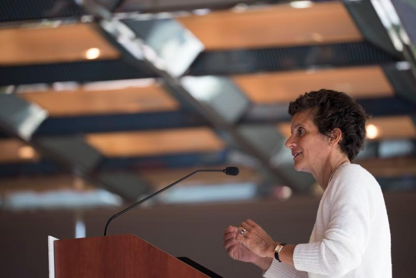 Dean Sherry Glied speaking on stage