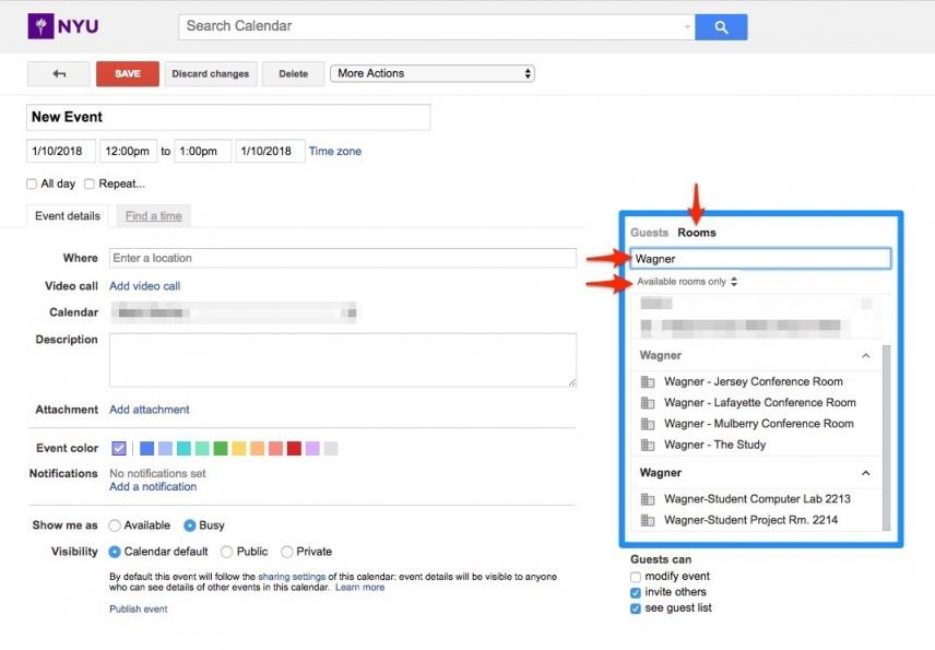 Where to find Wagner meeting rooms in Google Calendar