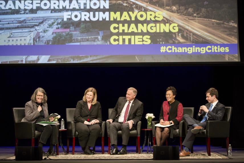 From left to right: Eleanor Randolph, Mayor Nan Whaley, Mayor John Giles, Mayor Toni Harp, Mayor Pete Buttigieg