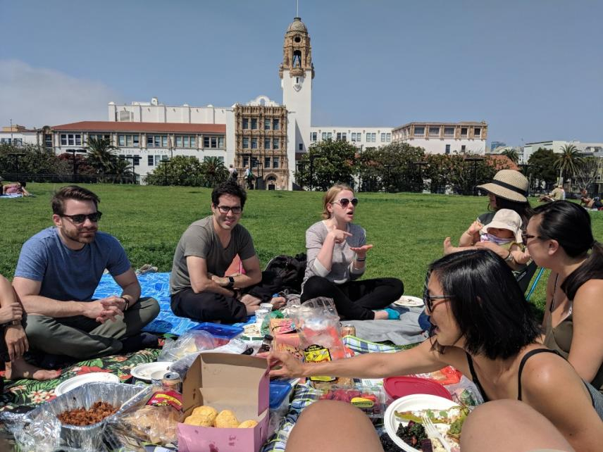 The Bay Area Alumni Network gather in Mission Dolores Park in San Francisco for their annual Wagner Summer Picnic.