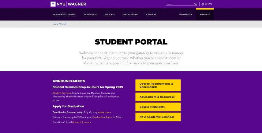 Step 1: Explore the Website | NYU Wagner