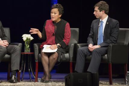 From left to right: Mayor Toni Harp, Mayor Pete Buttigieg