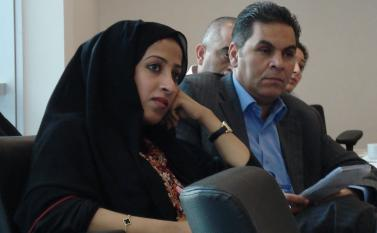 (From left) Maytha Al Habsi from the Emirates Foundation and Thuqan Qishawi from the American Friend