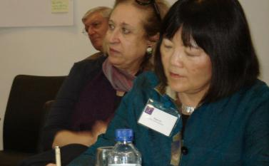 (From front) Diane Yu from New York University, Soukeina Bouraoui from the Centre of Arab Women for