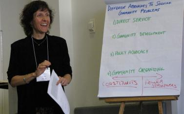 Joan Minieri, RCLA Fellow, facilitates many of the Social Change Leadership Network learning session