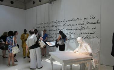 Exploring an exhibition at the Museum of the International Red Cross and Red Crescent Photo by Vivia