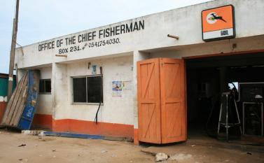 Visiting the Chief Fisherman at Elmina. Photo by Sandra Vu