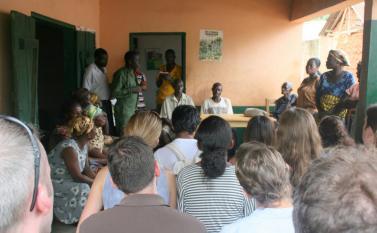 Discussion with the farmers at  Kuapa Kokoo Cocoa farm outside of Kumasi Photo by Sandra Vu
