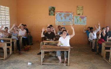 Lunching in the classroom at Kuapa Kokoo Cocoa farm outside of Kumasi Photo by Sandra Vu