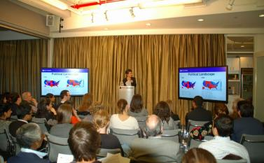 Dean Sherry Glied delivered a talk about the Affordable Care Act to students, faculty, and others A