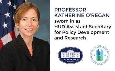 Professor Katherine O'Regan was sworn in April 29, 2014 as the U.S. Department of Housing and Urban