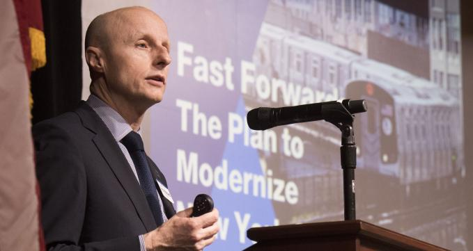 Andy Byford, NYCT President, presenting his Fast Forward plan at NYU on May 24, 2018.