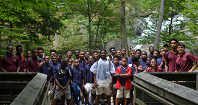 Robinson pictured with students during a hike.