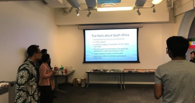 A screen shows facts about South Africa.