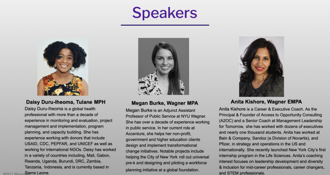 The speakers for the event which include Daisy Duru-Ilheoma, Megan Burke, and Anita Kishore